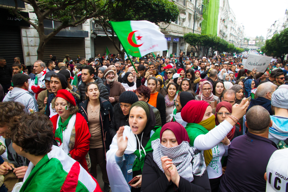 Algerian protesters (photo credit: Saddek Hamlaoui via Shutterstock)