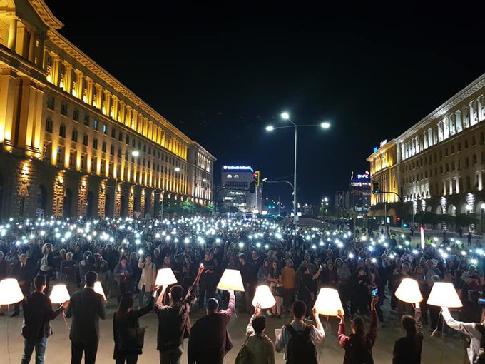 Bulgarian's protest appointment of Prosecutor General - October 2019 (Photo credit: Mariya Babikyan/Twitter)