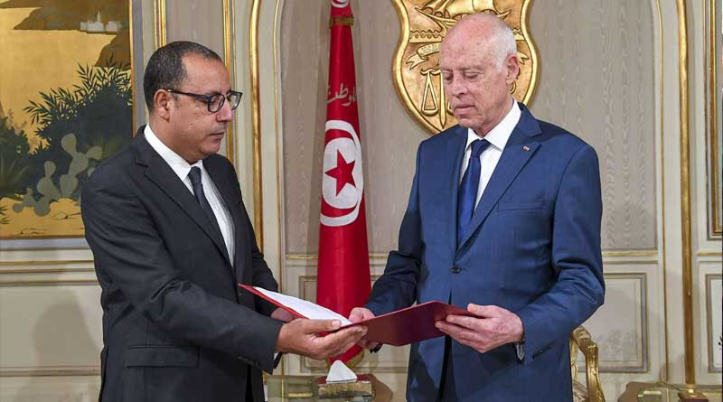 Tunisian head of government, Hichem Mechichi, and President Kais Saied (photo credit: DR)