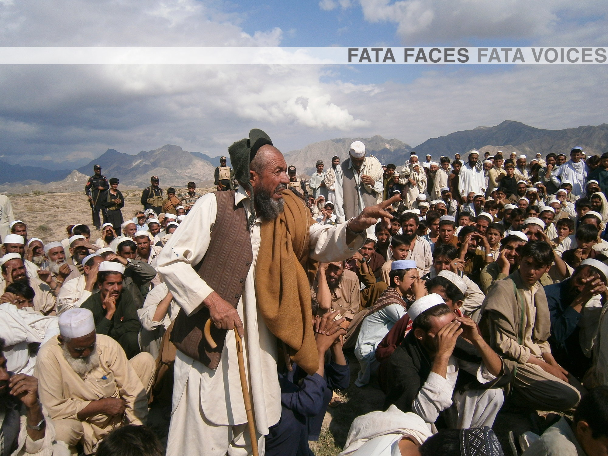 An elderly man speaks at a traditional meeting in the FATA (photo credit: FATA Reforms/Flickr)