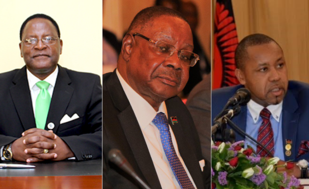 From left: Opposition MCP Candidate Lazarus Chakwera, President Peter Mutharika, and UTM's Saulos Chilima (Photo credit: AllAfrica)