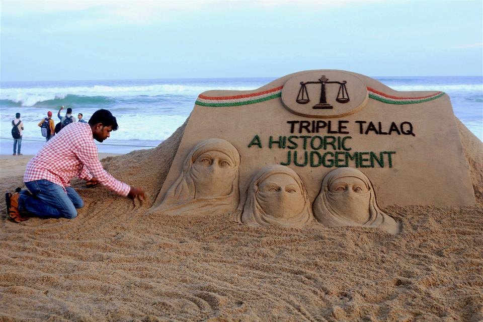 A sand artist makes a sculpture following the Supreme Court judgment (photo credit: worldentertainments center/Flickr)