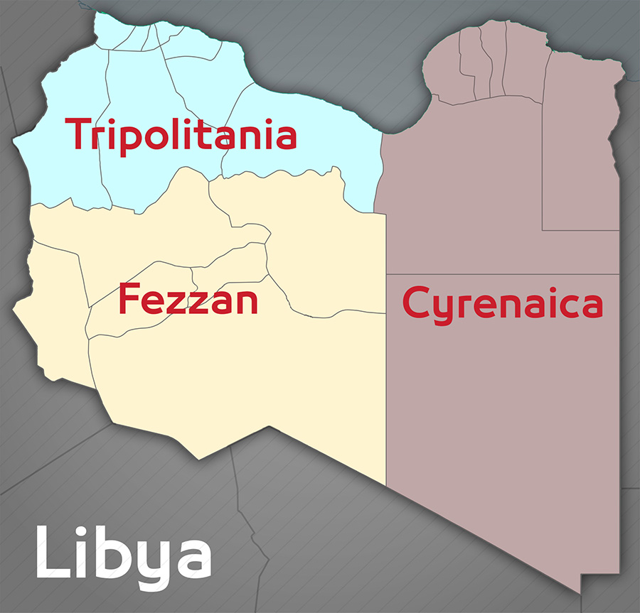 Map of old provinces of Libya (photo credit: Libya Express)