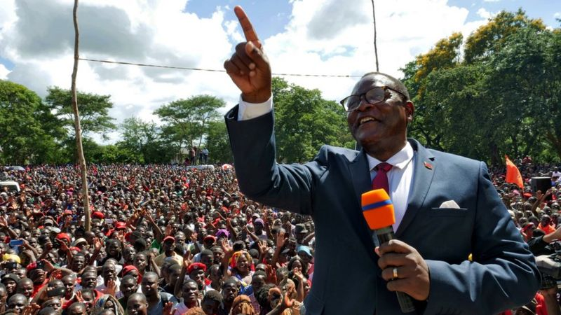 Malawi's President Lazarus Chakwera celebrates his victory (photo credit: Reuters)