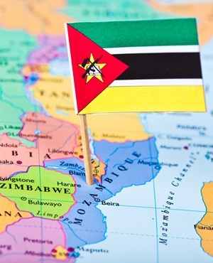 Mozambique map and flag (photo credit: News24/AFP)