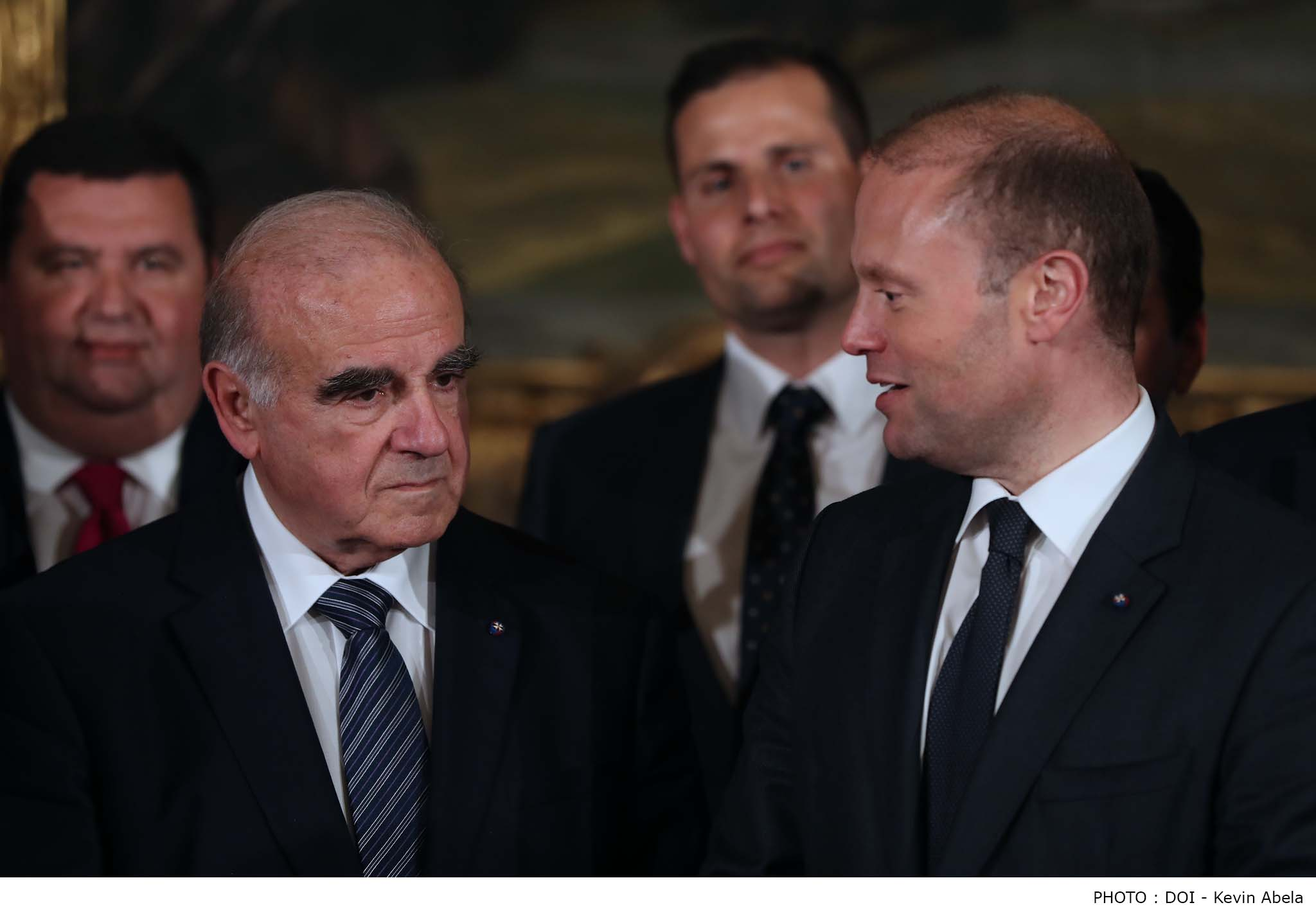 President George Vella - left - with Prime Minister Joseph Muscat (photo credit: Office of the President)