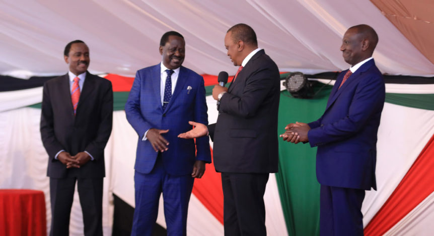 President Kenyatta (second right) and Odinga (second left) shake hands in presence of Vice President Ruto (right) (photo credit: Kenya Connection)