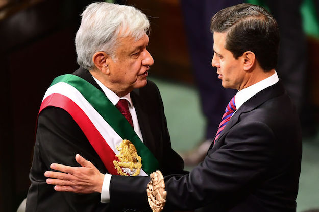 President Obrador (left) with former President Peña Nieto (photo credit: Ronald Schemidt/AFP/Getty Images)