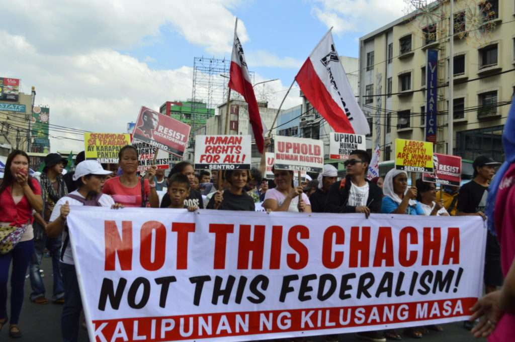 Some protesters oppose charter change and shift to federalism (photo credit: Ana Dominique Pablo)