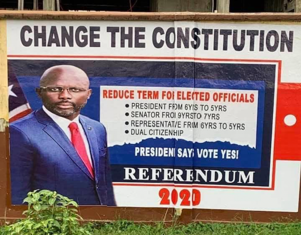 Referendum Banner Featuring President Weah (photo credit: FPA)