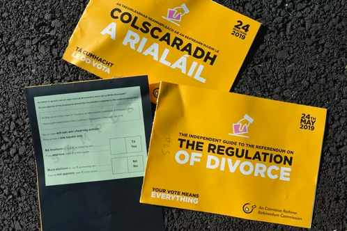 Divorce referendum leaflets (photo credit: Artur Widak-Nur Photo/Getty Images)