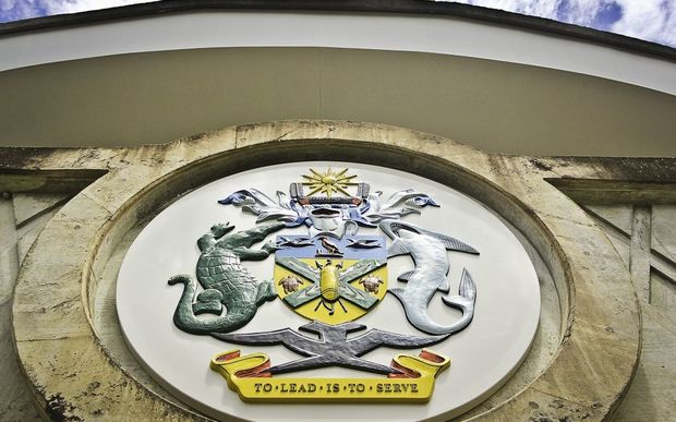 The Solomon Islands Coat of Arms adorns the steps of the National Parliament (photo credit: RNZ/Koroi Hawkins)