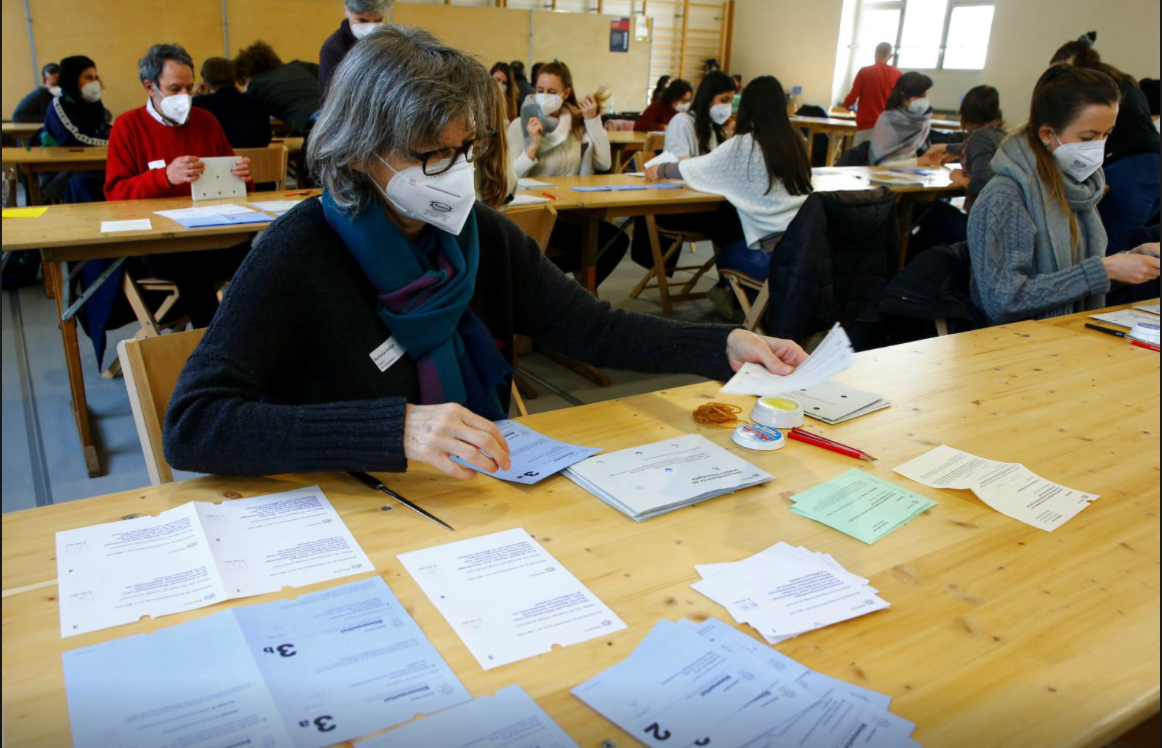 People in a Zurich district election office count ballots on March 7, 2021 (photo credit: REUTERS/Arnd Wiegmann)