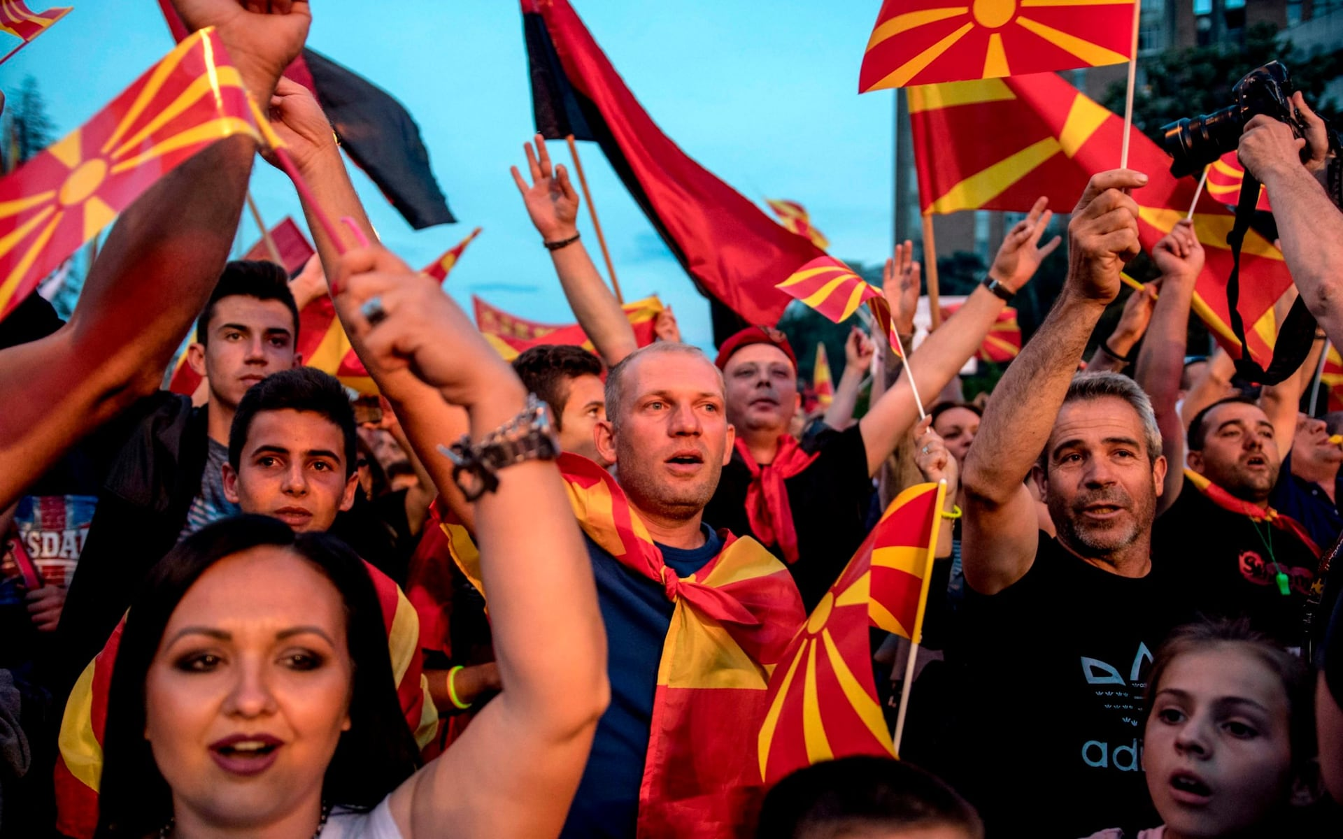 Thousands have demonstrated against the Macedonian government's compromise solution (photo credit: AFP)