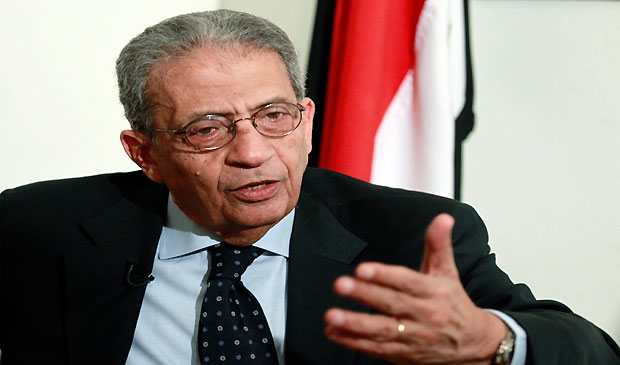 Opposition leader Amr Moussa, 76, a former Arab League secretary-general and Egyptian foreign minister, talks to Reuters during an interview in Cairo, April 29, 2013. (REUTERS/Mohamed Abd El Ghany)