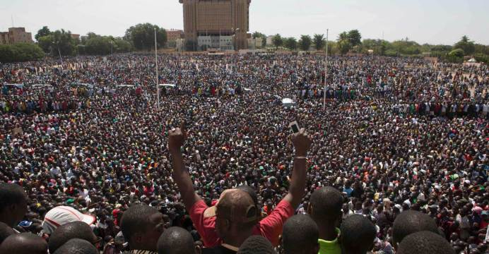 Protestors gather at the Place de la Nation in the capital Ouagadougou (photo credit: Reuters/Joe Penney)