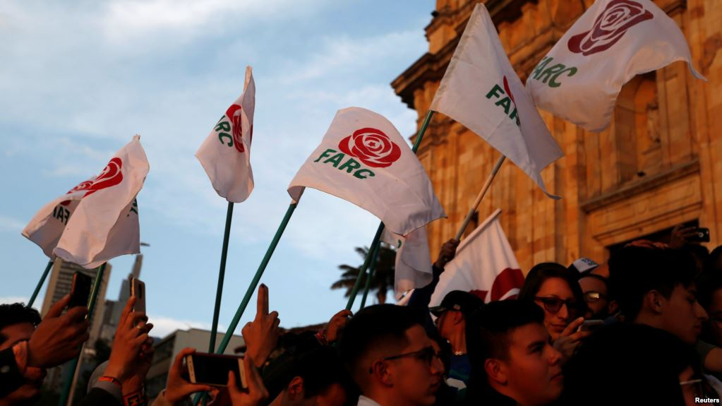 Revolutionary Alternative Force of the Common (FARC) Political party flags are seen during a protest in support of the Special Jurisdiction for Peace (JEP) (photo credit: Reuters)