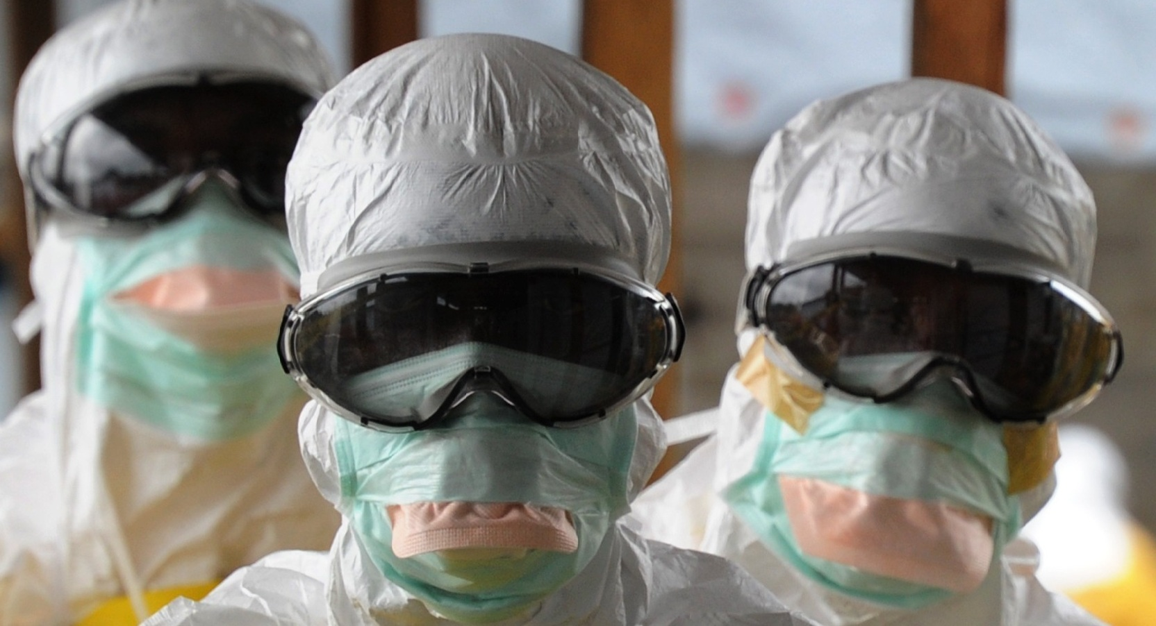 Frontliners in the fight against Ebola in protective gear.