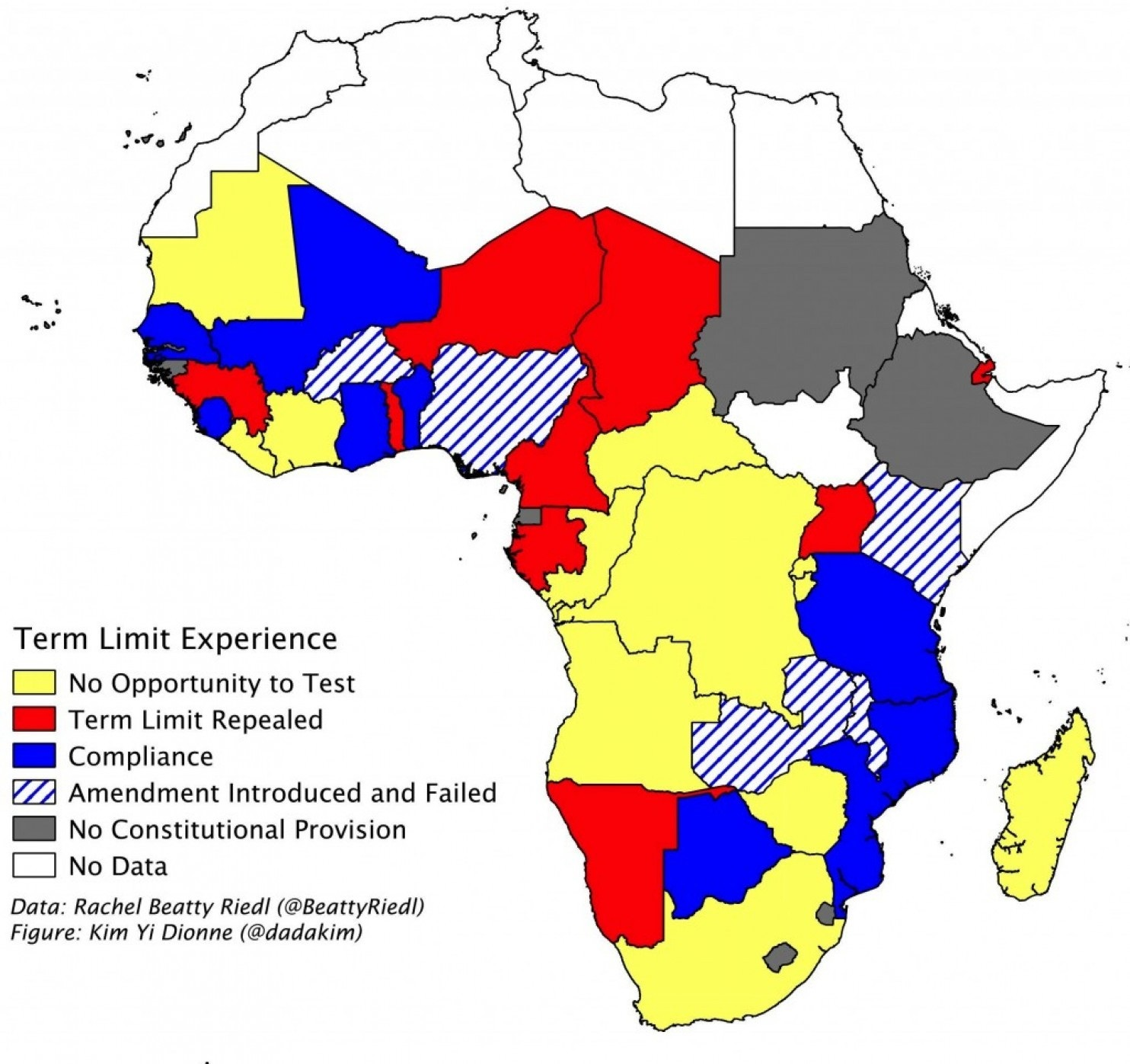 African countries are shaded according to their experience as of February 2015 regarding attempts to repeal constitutional term limits of the executive. Data: Rachel Beatty Riedl. (Kim Yi Dionne/The Monkey Cage)