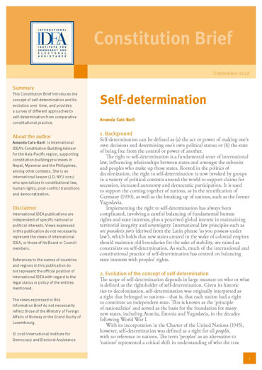 Self-Determination: Constitution Brief