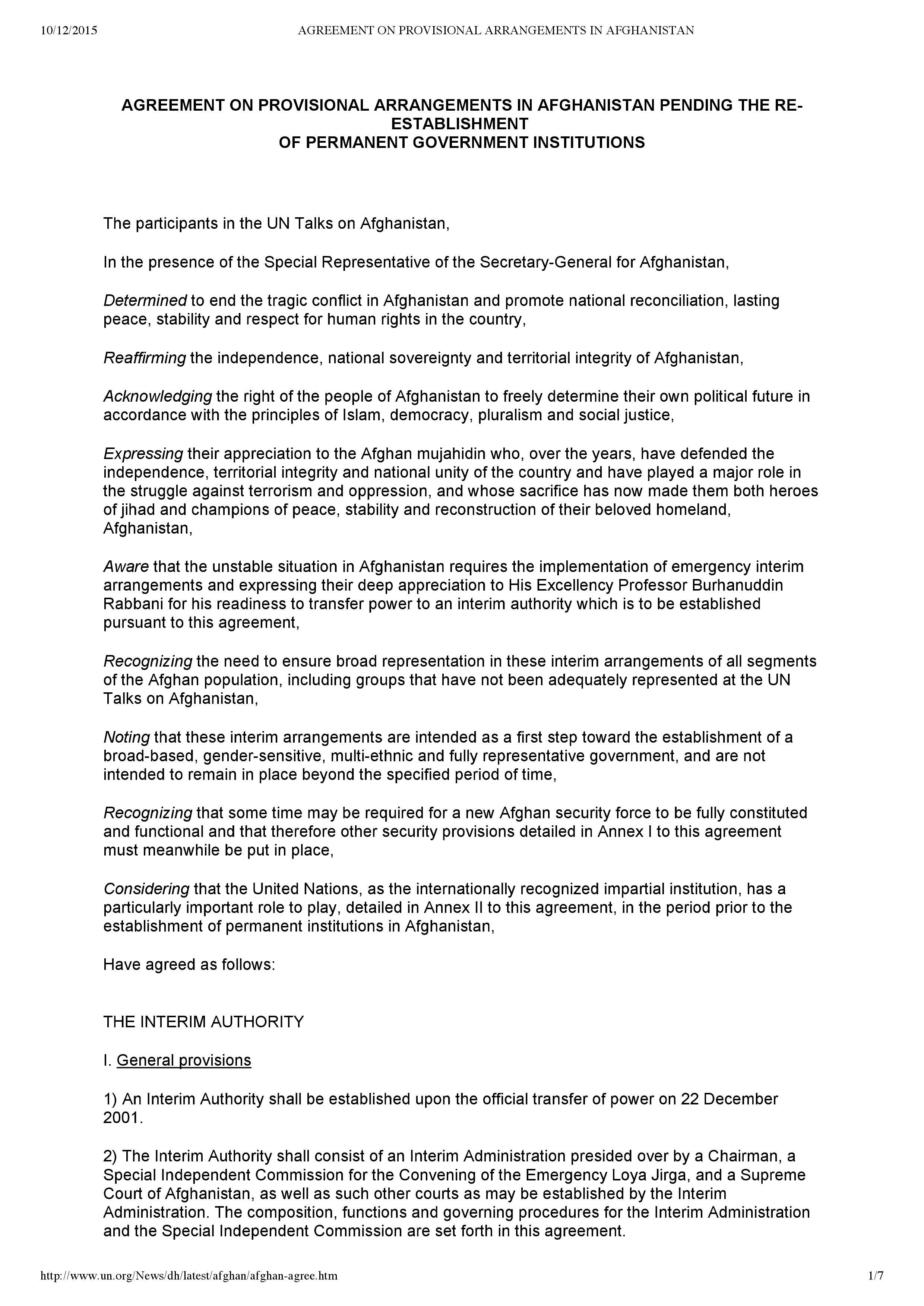 Interim Constitution Afghanistan 2001 Constitutionnet