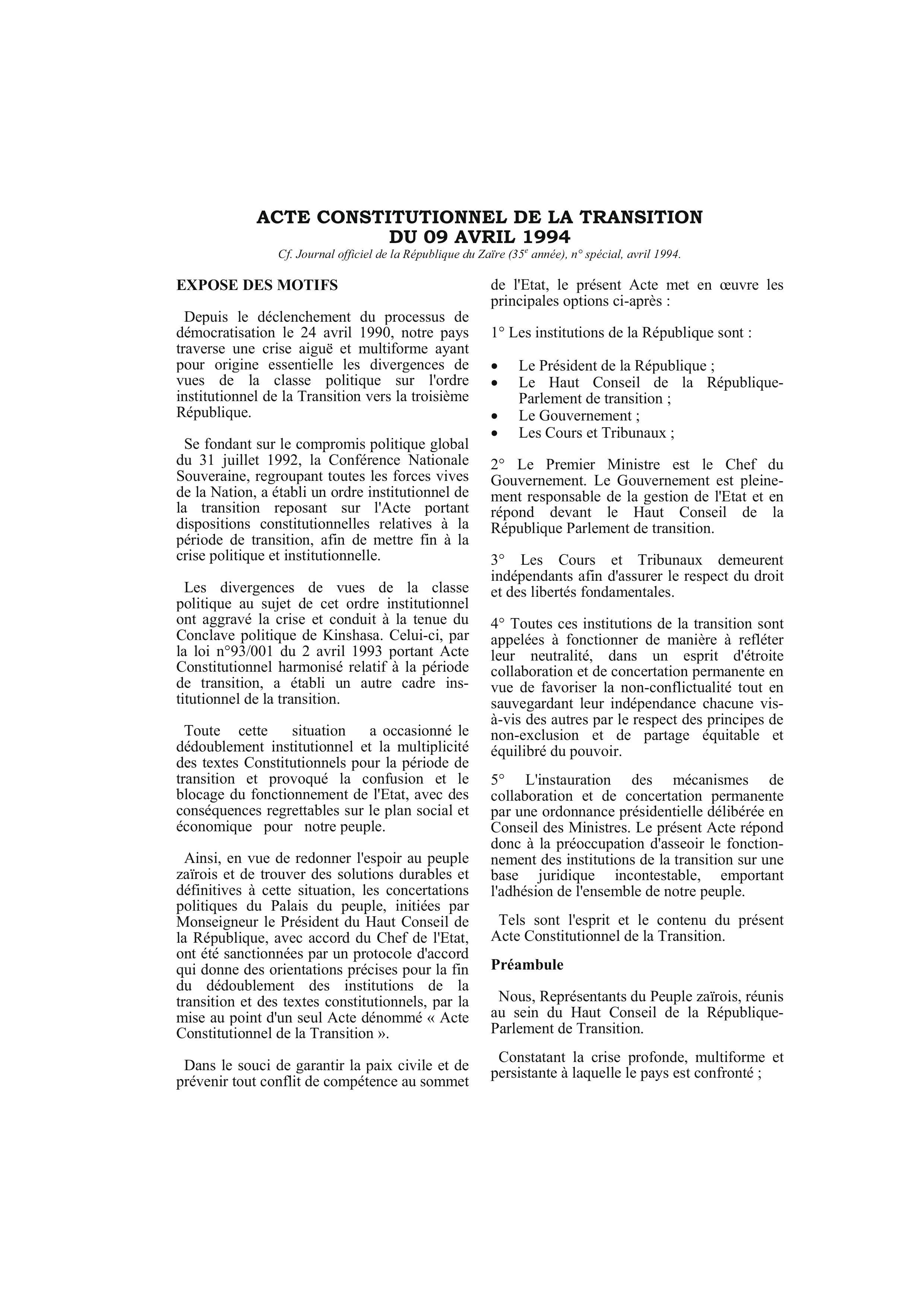 Democratic Republic Of Congo Constitution