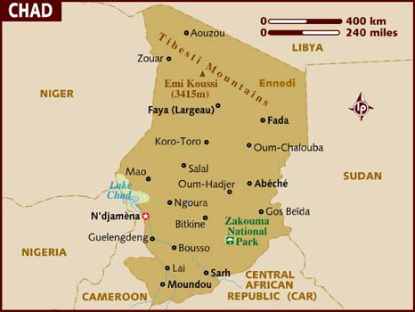 Map of Chad (photo credit: Lonely Planet)