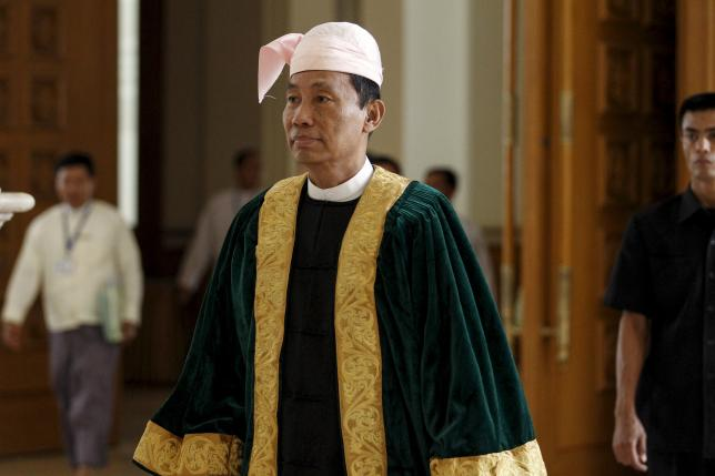 Shwe Mann, then speaker of Union Parliament, attends a parliament meeting at Union Parliament in Naypyitaw in this August 18, 2015 [photo credit: Reuters]