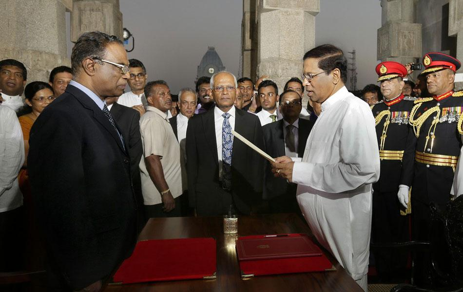 President Sirisena's oath (WordPress photo)