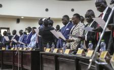 Swearing-in of ministers in Sudan's transitional government March 2020 (photo credit: UNMISS/flickr)