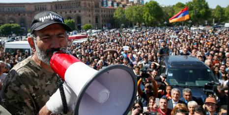 New Armenian PM Nikol Pashinyan leading protests (photo credit: Reuters/Gleb Garanich)