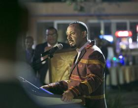 Prime Minister Abiy Ahmed speaks at a reception organised in honor of Paul Kagame (photo credit: Paul Kagame/Flickr)